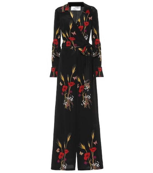 Valentino Floral-printed silk jumpsuit in black