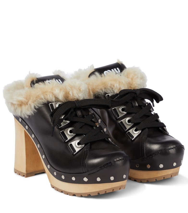 Miu Miu Shearling-lined leather mules in black