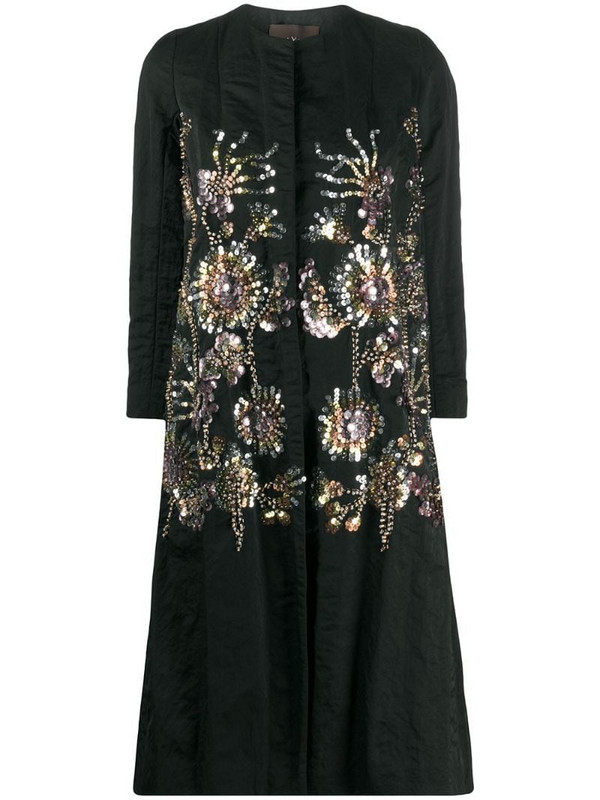 Biyan embroidered single-breasted coat in black