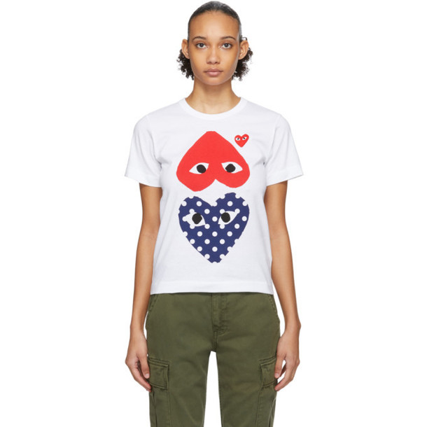 Comme des Garcons Play White and Red Polka Dot Upside Down Heart T-Shirt