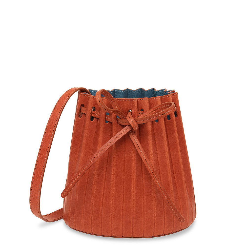 Mansur Gavriel Brandy Mini Pleated Bucket Bag - Avion
