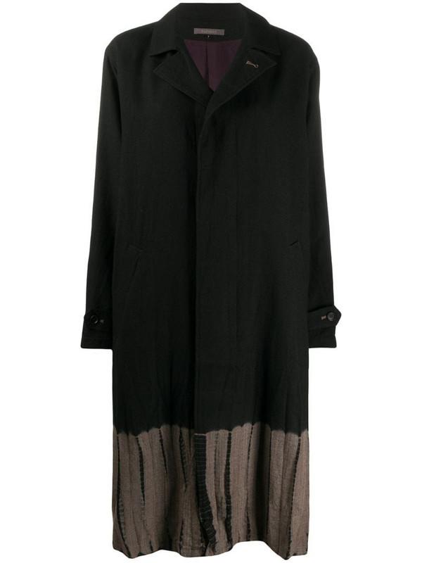 Suzusan two-tone wool coat in black