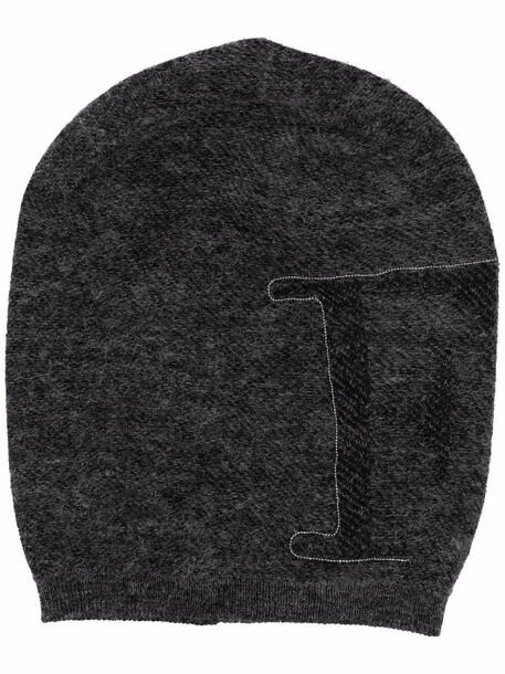 Fabiana Filippi intarsia-logo knit hat - Grey