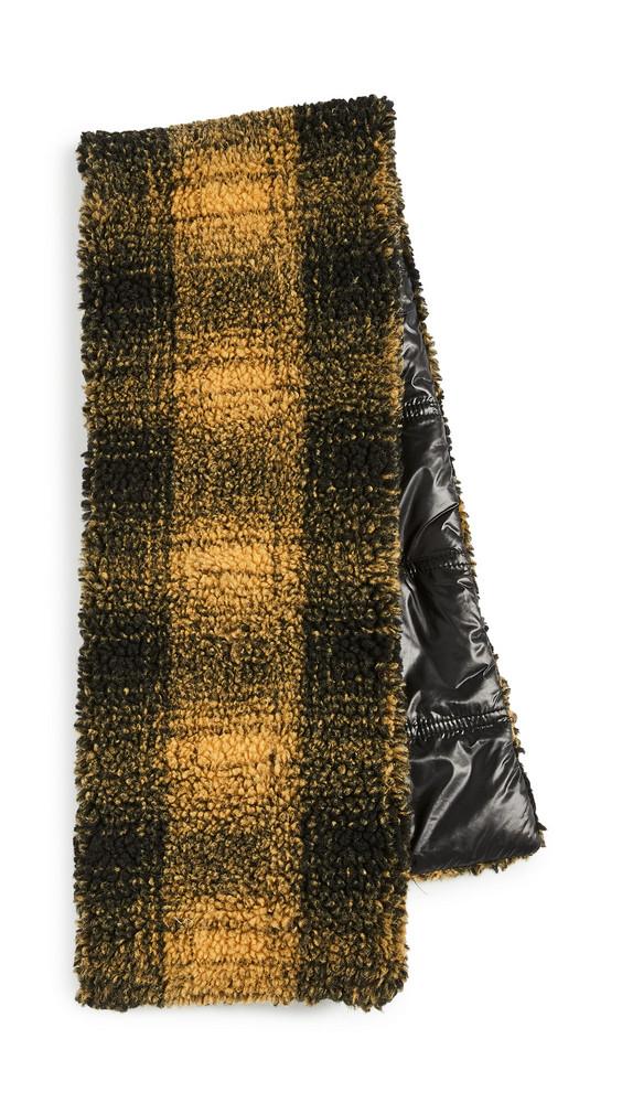 Adrienne Landau Check Pull Thru Scarf in black / yellow