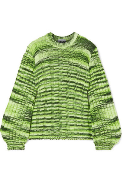 GANNI - Neon Mélange Ribbed-knit Sweater - Green