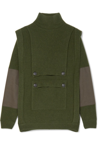 Stella McCartney - Button-embellished Paneled Ribbed Wool Hoodie - Army green