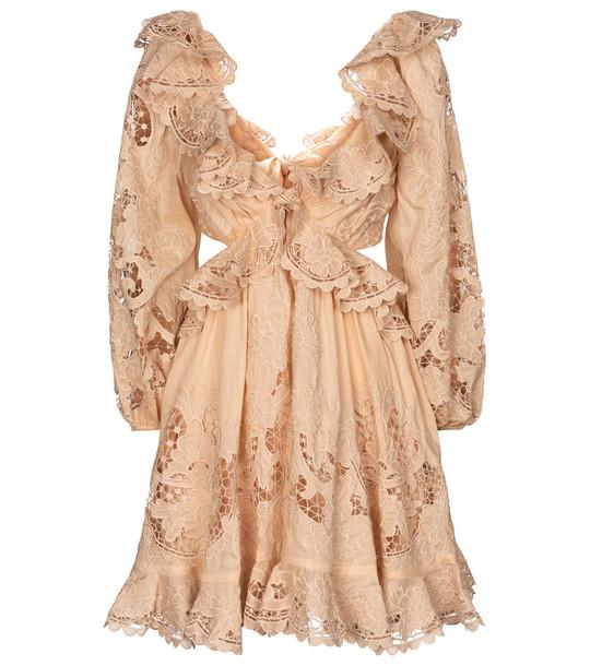 Zimmermann Brighton cotton minidress in beige