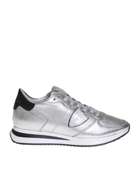 Philippe Model Trpx Sneakers In Silver Colored Leather