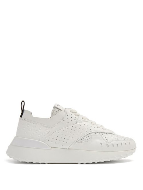 Tod's - Sporty Leather Low Top Trainers - Womens - White