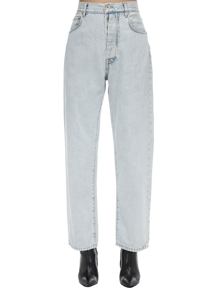 UNRAVEL Cropped Baggy Cotton Denim Jeans in blue