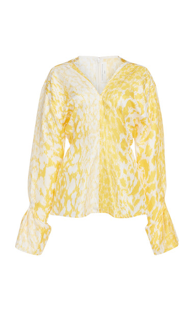Victoria Beckham Leopard-Print Silk-Crepe Top Size: 6 in yellow
