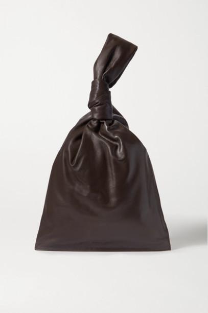 Bottega Veneta - Bv Twist Knotted Leather Clutch - Dark brown