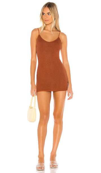 superdown Adrianna Sheer Mini Dress in Burnt Orange