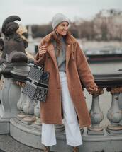 bag,dior bag,handbag,tote bag,snake print,ankle boots,wide-leg pants,white pants,cropped pants,high waisted pants,teddy bear coat,grey sweater,grey beanie