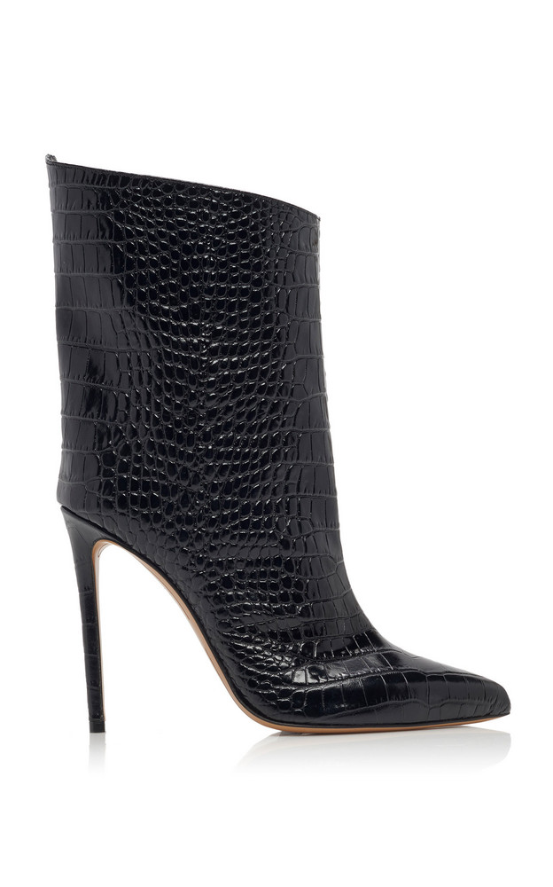 Alexandre Vauthier Alex Croc-Effect Leather Ankle Boots in black