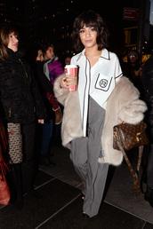 bag,grey,pants,shirt,purse,vanessa hudgens,fall outfits,top
