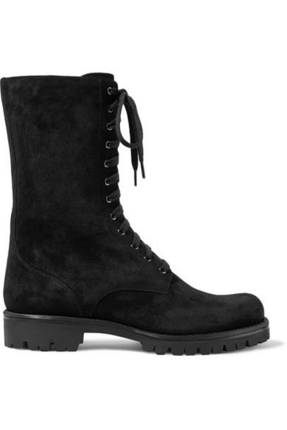 René Caovilla - Crystal-embellished Suede Ankle Boots - Black