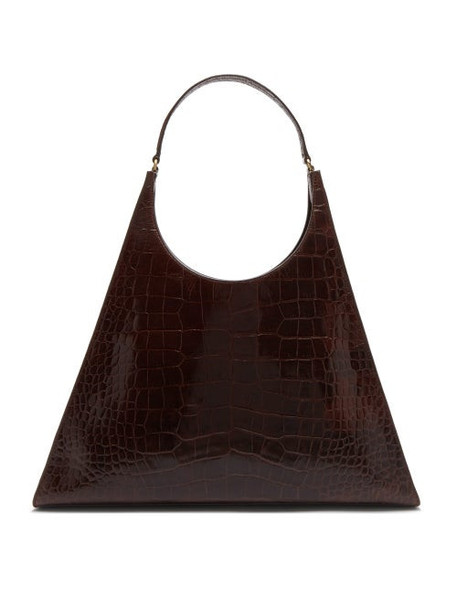 Staud - Roy Large Crocodile Embossed Leather Shoulder Bag - Womens - Brown
