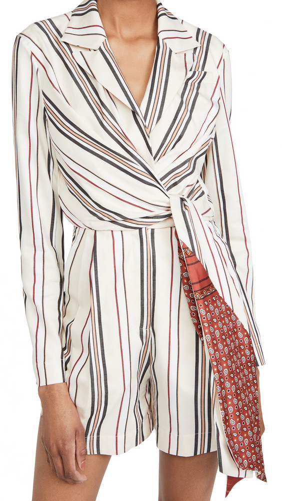 By any Other Name Gathered Wrap Romper in beige