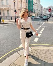 jumpsuit,white jumpsuit,short sleeve,white sneakers,black bag,gucci bag,black belt,gucci belt