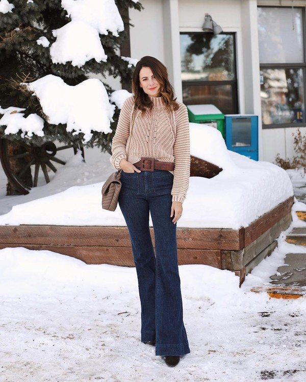 jeans flare jeans sweater crossbody bag boots