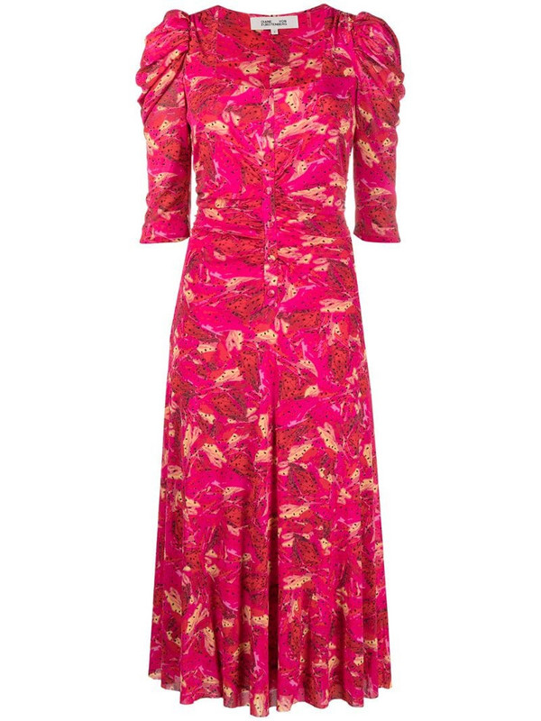 DVF Diane von Furstenberg printed square-neck midi dress in red