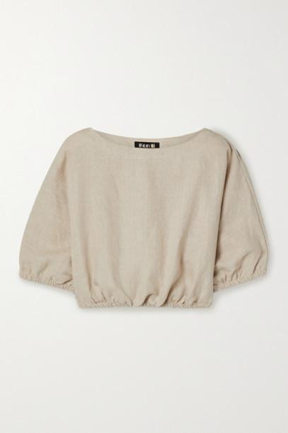 Suzie Kondi - Safari Cropped Linen Top - Beige