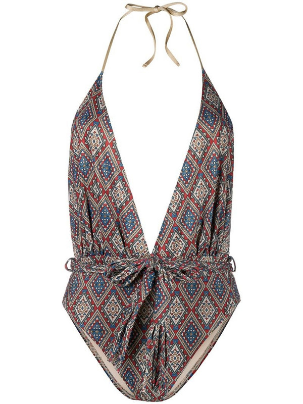 Mc2 Saint Barth Aztec print one-piece swimsuit in red