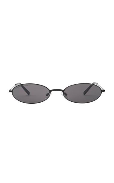Carolina Lemke x Kim Kardashian West Sand Round-Frame Acetate Sunglasses in black