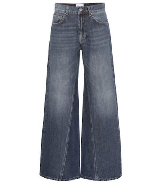 Ganni Mid-rise wide-leg jeans in blue