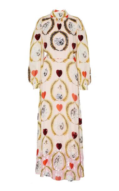 Temperley London Cosmic Printed Crepe Empire Gown in multi