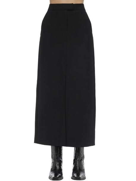 KARL LAGERFELD Long Wool Blend Skirt in black