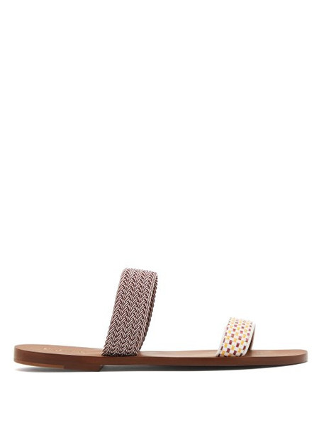 Malone Souliers - Millie Raffia And Leather Slides - Womens - White Multi