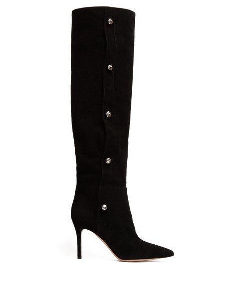 Gianvito Rossi - Slouchy 85 Knee High Suede Boots - Womens - Black