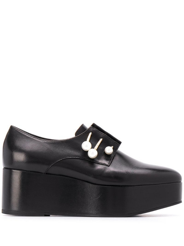 Coliac platform loafers with pearl detail in black