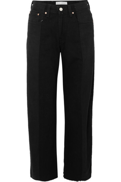 E.L.V. Denim - Net Sustain The Twin Frayed Two-tone High-rise Wide-leg Jeans - Black