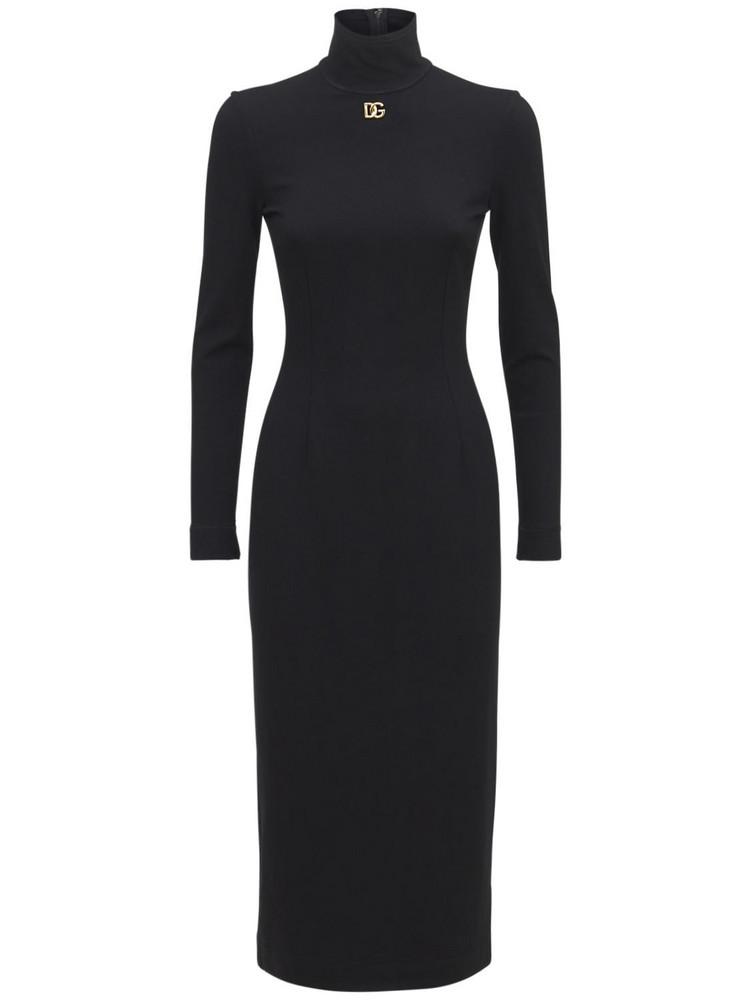 DOLCE & GABBANA Stretch Jersey Logo Midi Dress in black