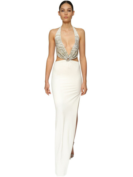 AZZARO Embellished Jersey Long Dress in gold / white