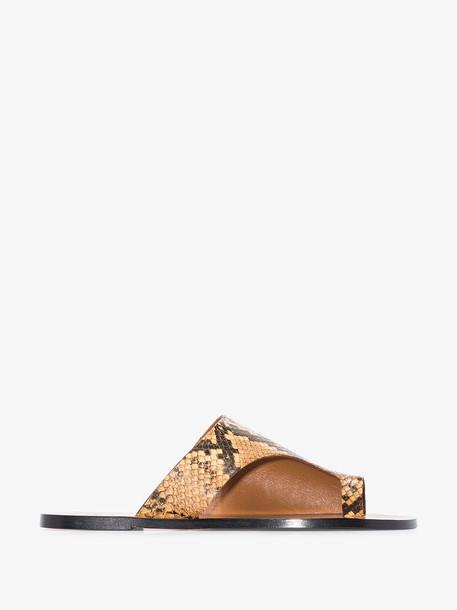 Atp Atelier Terracotta Rosa snake print thong leather sandals