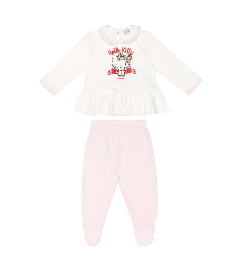 Monnalisa Cotton top and pants set in white