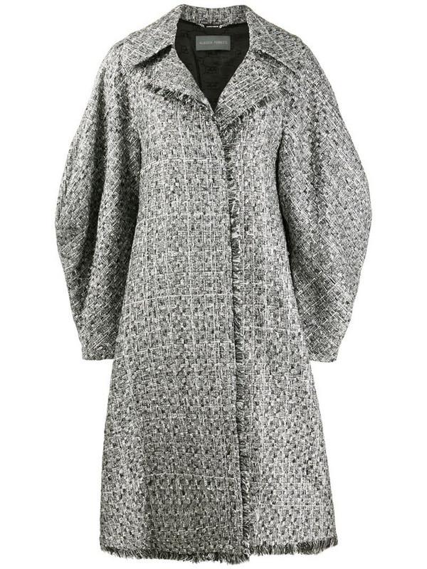 Alberta Ferretti tweed wide-sleeve coat in silver