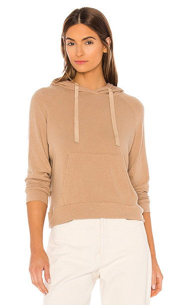 Enza Costa Peached Jersey Easy Hoodie in Tan