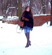 only my fashion style,blogger,sweater,jeans,shoes,bag,gloves,thigh high boots,over the knee boots,cape,winter outfits