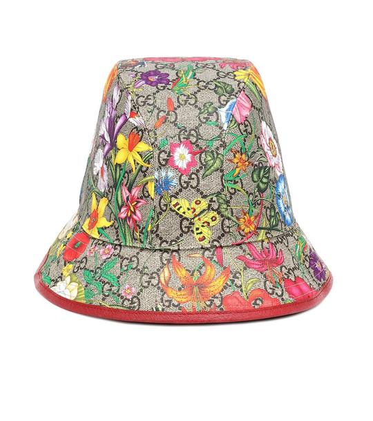 Gucci GG Flora cotton-blend bucket hat in beige