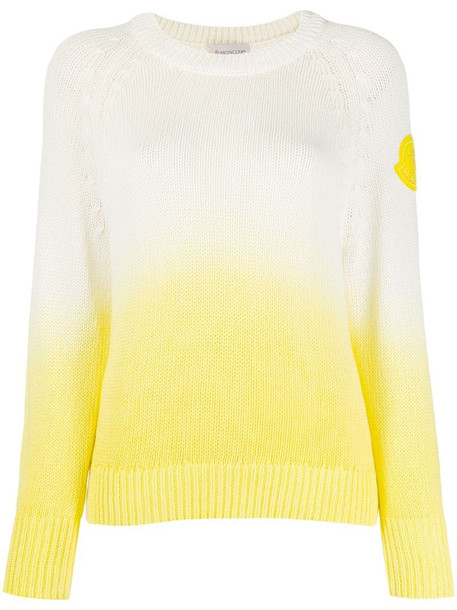 Moncler logo patch gradient jumper in white