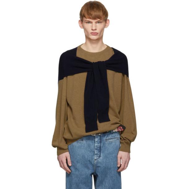 Loewe Beige & Navy Cashmere Shoulder Sleeve Sweater