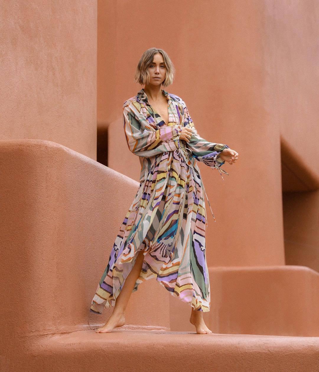 dress asymmetrical dress long sleeve dress h&m multicolor