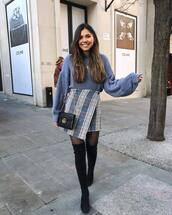 sweater,blue sweater,oversized sweater,na-kd,black boots,over the knee boots,tights,wrap skirt,mini skirt,pleated skirt,high waisted skirt,black bag,gucci bag