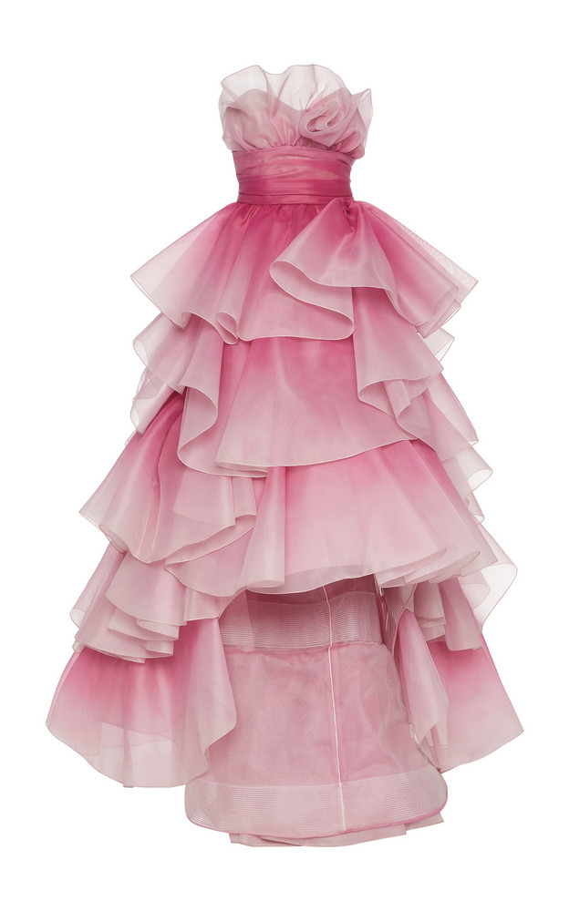 Marchesa Tiered-Ruffle Strapless Tulle Gown Size: 2 in pink
