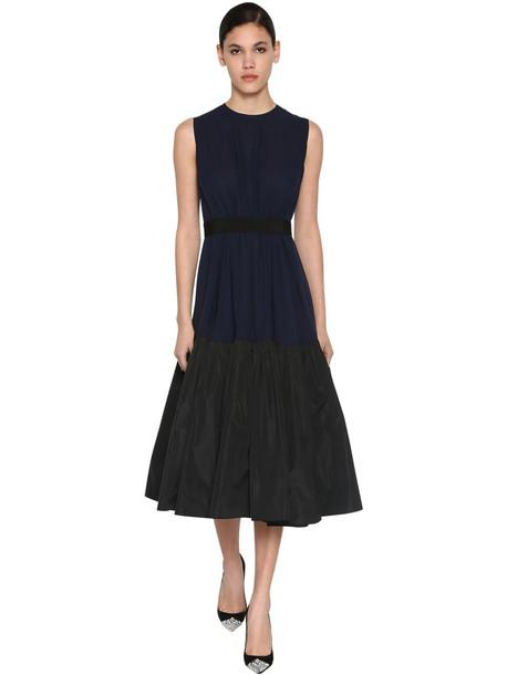 DELPOZO Ruffled Silk Georgette Midi Dress in black